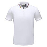 ingrosso collo del tatuaggio dei ragazzi-2019 t-shirt polo a righe di design t-shirt polo serpente ricami floreali uomo t-shirt polo di alta moda cavallo