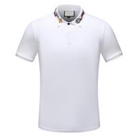 atlar gömlek moda toptan satış-2019 tasarımcı şerit polo gömlek t shirt yılan polos arı çiçek nakış erkek Yüksek sokak moda at polo T-shirt