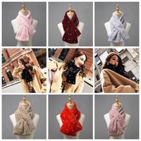 Wholesale fake fur scarfs - Woman Winter Scarf Faux Fur Imitation Rex Rabbit Fur Scarves Warm Fluffy Thick Cross Shawl Neck Scarf Fake Fur Collar 7 Color 50pcs OOA4371