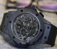 Wholesale mens tattoos - Luxury Brand New All Black Steel Skeleton Tattoo Totem Flower Dial Miyota Quartz Chronograph Mens Watch Rubber Strap Stopwatch Watches HUB14