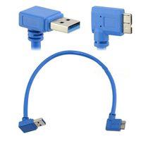 usb cable b angulado venda por atacado-30 cm USB 3.0 A 90 graus para baixo do ângulo macho para Micro B macho 90 graus à esquerda Ângulo curto cabo
