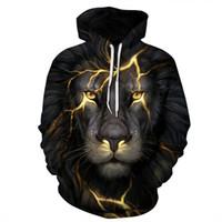 león africano al por mayor-Unisex African Lion Digital 3D Hoodie Hombres y Mujeres Sudadera con estampado de moda Casual Hoodie Sweater Pullover