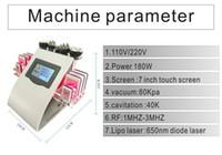 cavitación rf láser de diodo de vacío al por mayor-Painless 8 Pads Diode Lipo Laser LLLT Cavitación ultrasónica 40K que adelgaza la máquina de la pérdida de peso de las celulitis del vacío RF