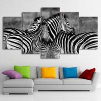 arte da parede dos pares venda por atacado-HD Impresso 5 Peça Da Arte Da Lona Zebra Casal Grande 5 Painel Canvas Art Pictures Parede para Sala de estar Frete Grátis NY-7603C