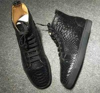 Wholesale genuine python leather - Wholesale Brand Designers Rantus Red Bottom Men Sneaker Python Patent leather,Outdoor Walking Flat Sneakers For Women Men Trainers Hi-top