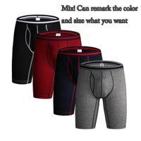 calços de bolsa para homem venda por atacado-Esporte Briefs Boxer Underwear dos homens Breve Algodão Longo Desempenho Boxer Underwear dos homens proteger a coxa Tecido Macio e 3D bolsa