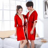 ingrosso uomini di seta rossa-abito da notte per uomo e da donna accappatoi Autunno faux silk coppia accappatoi accappatoio bagno rosso da sposa uomo e donna homewear