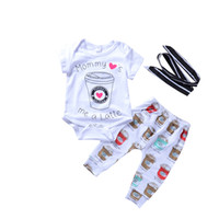 Wholesale girl coffee cup for sale - Group buy Baby piece Clothing Set Coffee Cups Printed Boys Girls Clothes Suit Cotton Short Sleeve Romper Pants Headband M
