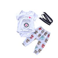 kahve giyim toptan satış-Giyim Kahve Fincan Seti 3 bebek parça Çocuklar Kız Elbise takım Elbise Pamuk Kısa Kollu Romper Pantolon 0-24 Bandı Baskılı