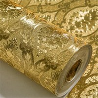 Wholesale Gold Wallpapers - Wholesale-beibehang papel de parede 3D luxury home improvement wall paper roll silver Gold foil wallpaper bedroom living room background