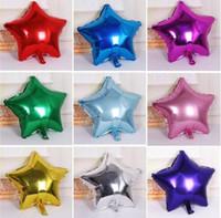 estrella dorada globo dorado al por mayor-50 Unids / lote 5 pulgadas Globo de helio Globos de papel de aluminio en forma de estrella para la decoración del cumpleaños de la boda Baby Shower Party Supplies