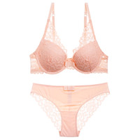 Wholesale Young Lingerie Panties - 2018 Hot Luxury lace 3 4 cup young girls beauty back sexy women Lingerie push up bra set panties gather adjustable underwear set