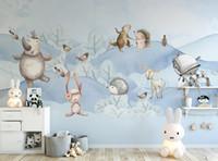 floresta animais parede murais venda por atacado-Personalizado 3d foto papel de parede nórdico dos desenhos animados animais da floresta bonito meninos e meninas quarto das crianças quarto fundo murais de parede papel de parede