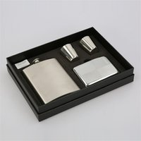 Wholesale wholesale whiskey gift sets - Mini Whiskey Flagon Leak Proof Stainless Steel Hip Flask Gift Set Outdoor Portable Wine Pot 34tf C R