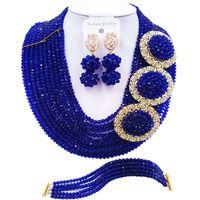 Wholesale wedding jewelry sets royal blue - ACZUV Royal Blue African Beads Necklace Nigerian Wedding Jewelry Sets 10C-3PH009