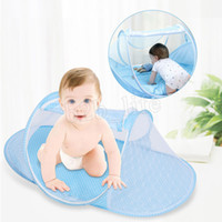 Wholesale pink blue girls bedding online - 50 Mosquito Net Tent Portable Baby Crib Multi Function Cradle Bed Infant Foldable Mosquito Netting for Girls Bed MMA196