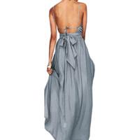 robes de sirène états-unis achat en gros de-Mode d'été Robe de plage Boho femmes sexy de Split Spaghetti Strap Robe 2018 Robes de soirée Backless Robe Maxi Robe longue