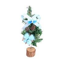 ingrosso albero di bonsai blu-Albero di Natale da tavolo con base in legno Natale Bonsai decorazioni artigianali per il desktop Casa ornamenti per feste (blu)