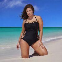 mais tamanho monokini venda por atacado-Swimsuit One Piece Sexy Plus Size Swimwear Mulheres Halter Top Maiô Backless Cut Out Monokini Bodysuit Praia Desgaste Nadar