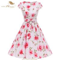 weißes kleid kirschen großhandel-Großhandel Retro Vintage Kleider mit großen Schaukel hochwertige Blumendruck Kirsche blau weiß Baumwolle Frauen Sommerkleid VD0785