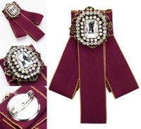 kadın gömlekleri elmas taklidi yaka toptan satış-Lady Için Rhinestone Kristal Yay Broşlar Kadın Gömlek Elbise Yaka Düğün Parti Papyon Ilmek Papyon Korsaj Broş Pins Takı H419R
