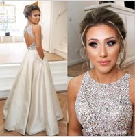 ingrosso cime formate in sequined formale-2018 Keyhole Top Beaded Prom Dresses Long Puffy Paillettes Crystal Lunghezza pavimento Prom Gown Couture Backless Evening Formal Wear Partito reale