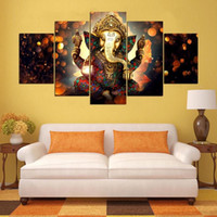 Wholesale modern abstract art oil painting - 5 Panels Hindu God Ganesha Elephant Modern Canvas Oil Painting HD Print Wall Art Decor for Living Room Home Decoration Framed Unframe