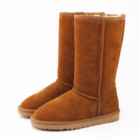 Wholesale tall canvas shoes - Winter Warm GGD Gooses Classic Australia Tall Boots Waterproof Cowhide Genuine Leather Snow Boots Bailey Bowknot Warm Shoes For Women 15