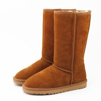 Wholesale Tall Boots For Women - Winter Warm WGG Classic Australia Tall Boots Waterproof Cowhide Genuine Leather Snow Boots Bailey Bowknot Warm Shoes For Women 15