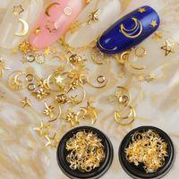 arte do quadro do ouro venda por atacado-Nail art metal frame 3D oca-out ouro e prata rebites com estrela de cinco pontas acessórios de unhas suprimentos