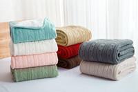 ingrosso pecore di lana di cotone-Portatile caldo 100% cotone di alta qualità di pecora coperte di velluto calore invernale coperta di lana a maglia divano / copriletto trapunta coperta a maglia