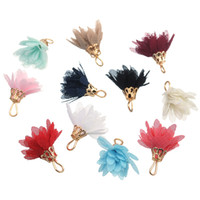 ingrosso gioielli di nappa diy-Mescolare 20 pezzi chiffon fiore creazione di gioielli ciondolo per orecchini fai da te collana 20mm elegante colorato nappe orecchini orecchino chiave chian nappe G989F
