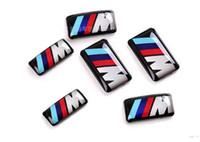 araç etiketleri çıkartmalar toptan satış-Araba Araç Tekerlek Rozeti M Spor 3D Amblem Sticker Çıkartmaları Logo bmw Için M Serisi M1 M3 M5 M6 X1 X3 X5 X6 E34 E36 E6 Araba Styling Etiketler