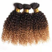 mel marrom cabelo tecer venda por atacado-Ombre Brasileira Kinky Curly Cabelo Humano Bundles T1b 4 27 Três Tons Remy Virgem Do Cabelo Tece Castanho Preto Mel Loiro 3 pcs 4 pcs Lot