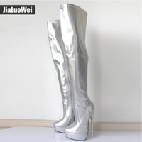 7634f95ba19f 2018 Women Knee High Boots 18cm Sexy Metal Stiletto Thin Heel Fetish Zipper  Fashion Nightclub Pole Man SM Cosplay Dancing Boot Silver Red
