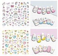 Wholesale Hearts Transfers - Cute Unicorn series nail decoration kit adhesive 3D nail sticker colorful rainbow stars heart nail art transfer stickers
