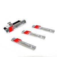 Wholesale Grill Doors - 4PCS Set CAR AUTO Silver CHROME SLINE GRILL GRILLE REAR EMBLEM BADGE FOR AUDI A4 A5 A6 A8 Q5 Q7 TT