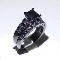 conjuntos de anillo de diamante negro vintage al por mayor-Vintage negro oro lleno anillo de aniversario conjunto negro cuadrado diamante CZ anillos de dedo para niñas fiesta de cumpleaños joyería única tamaño 5-10