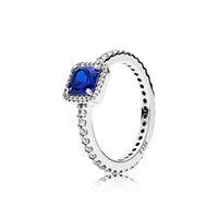 ingrosso anello di diamanti blu-100% autentico blu CZ Diamond Fedi nuziali Logo scatola originale per Pandora 925 Sterling Silver Engagement Jewelry RING per le donne