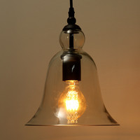 lâmpadas de teto de vidro vintage venda por atacado-Vidro Estilo Vintage Antique Sombra Luz de teto luminária Fixação americano moderno Loft cristal pingente sino luz luzes retro do candelabro