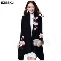 kimono kollu kazak toptan satış-Zarif Cardigans kazak pelerin ceket kadınlar çiçek nakış kimono sonbahar kış uzun kadın palto uzun kollu trençkot S118