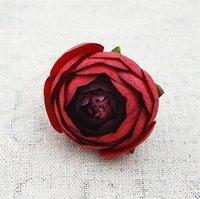çiçek şakayık gül kamelya düğün toptan satış-Yeni Tasarım 50pcs Yapay Tea Rose Bud Küçük Şakayık Camellia Flores Çiçek Baş Düğün Balo Dekorasyon Craft Hediyeler Sahte Çiçekler için