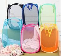 mesh-taschen zum waschen von kleidung großhandel-Faltbare Mesh-Wäschekorb-Kleidung-Speicher liefert Pop Up Waschen von Kleidung Wäschekorb Bin Hamper Mesh Aufbewahrungstasche wn457