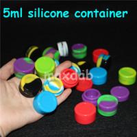 Wholesale glossy rubber - Reusable Round Non-stick 5ml Silicone Jar Container For E-cig Wax Bho Oil Butane Vaporizer Silicon Jars Dab Wax Container silicone bubbler