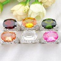 zirkonia edelstein ring großhandel-6 teile / los Luckyshine Urlaub Geschenk Oval Mix Farben Zirkonia Kristall Edelstein 925 Silber Mode Charme Frauen Ring Schmuck