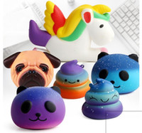 Wholesale Kawaii Design - 15 design Kawaii Squishy Unicorn panda shit Bread Cake toys Squishy Slow Simulation Funny Slow Rising Squishy Scented Toys KKA4407