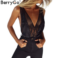 Wholesale lingerie backless bodysuit - BerryGo Sexy lace adjustable strap one piece bra Satin mesh backless lingerie bodysuit 2017 summer underwear women intimates