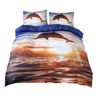 ropa de cama queen dolphin al por mayor-2018 3D Sea Dolphin Print Bed Cover 100% poliéster microfibra Bedlinens Twin Queen King 3Pc fundas de almohada funda nórdica