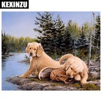 Wholesale rivers life - 2018 New Arrival 5D DIY diamond embroidery dog with River diamond painting Cross Stitch full square Rhinestone mosaic home decoration