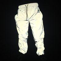 parlak polyester pantolonlar toptan satış-Ücretsiz Bırak nakliyeci Joggers erkek yansıtıcı pantolon erkekler hip hop kadınlar dans dans gece lambası parlak blink uzun pantolon